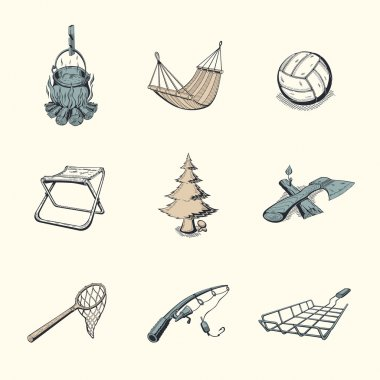 Set of different camping icons.