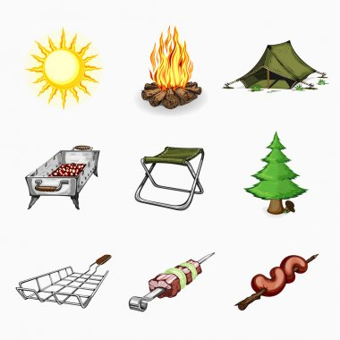 Set of tourism and camping icons.