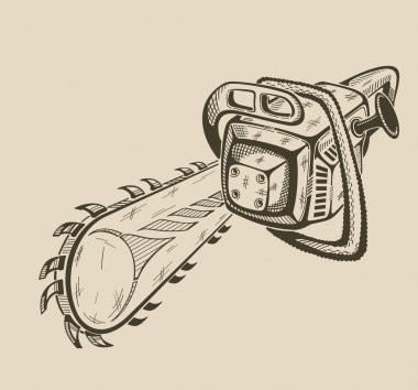 Illustration of vector monochrome chainsaw.