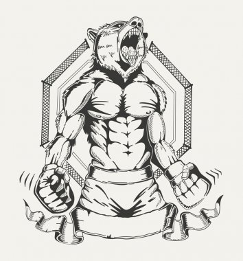 Image of a fighter with the human body and angry wolfs head.