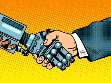 Handshake of robot and man. New technologies evolution