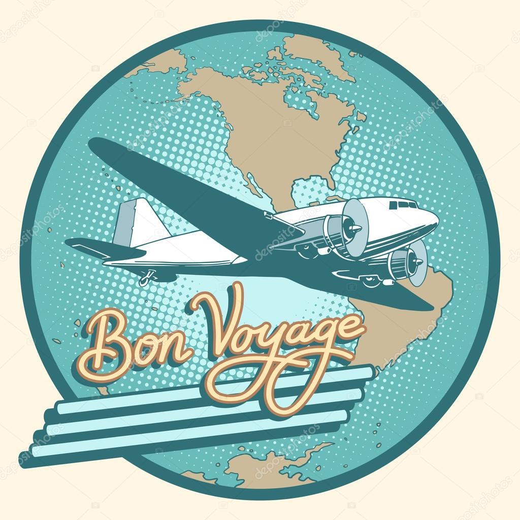 bon voyage abstract retro plane poster  u2014 stock vector