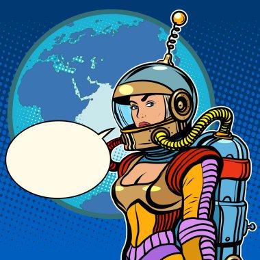 Girl cosmonaut on planet Earth