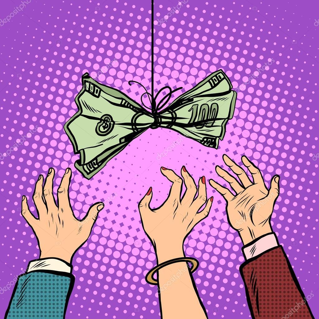 Caixa Isca Vetor Ilustração Retrô Pop Art Estilo Retro. Negócios E  Finanças. As Mãos Alcançar Os Dólares. Ganância U2014 Vetor De Studiostoks