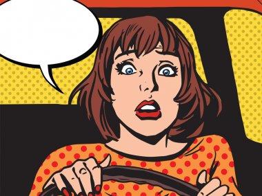 Retro girl scared the driver