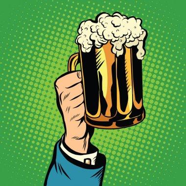 beer mug in hand, pop art retro