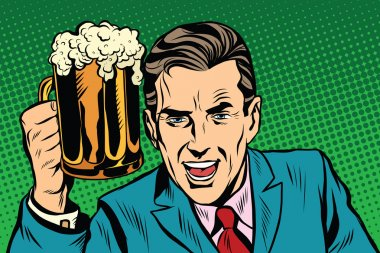 Emotional vintage man with beer