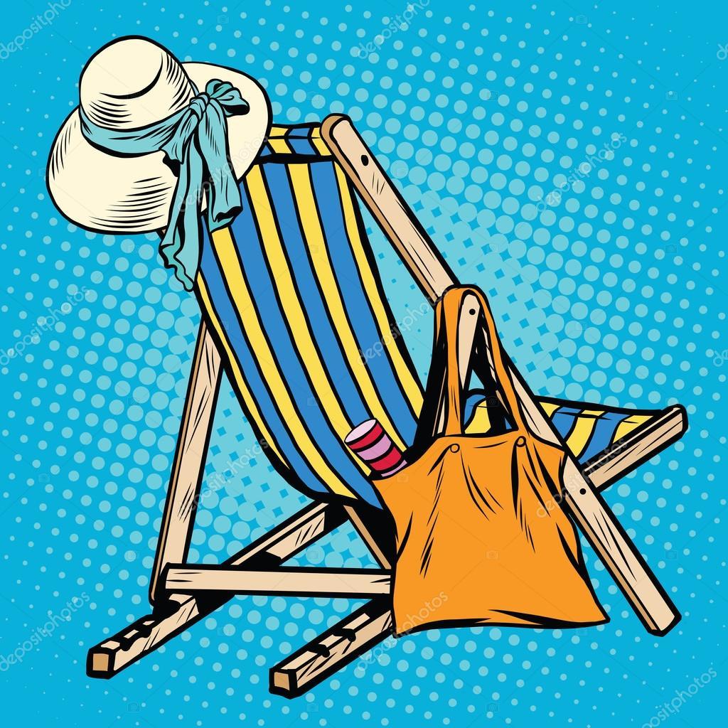 chaise longue avec des femmes de choses plage image vectorielle studiostoks 113298878. Black Bedroom Furniture Sets. Home Design Ideas