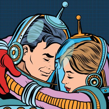 Retro love couple astronauts man woman