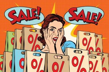 Pop art surprised woman sales discounts, the buyer