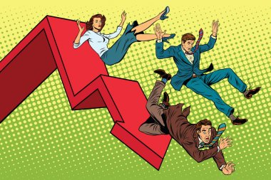 Business men and woman financial collapse