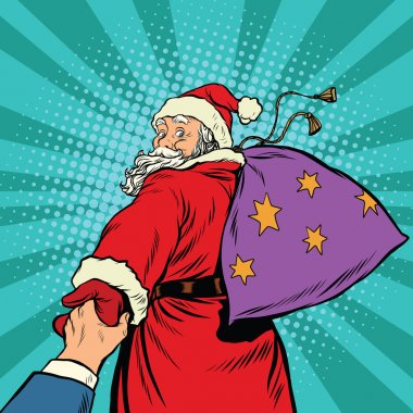 follow me, Santa Claus with gifts New year Christmas
