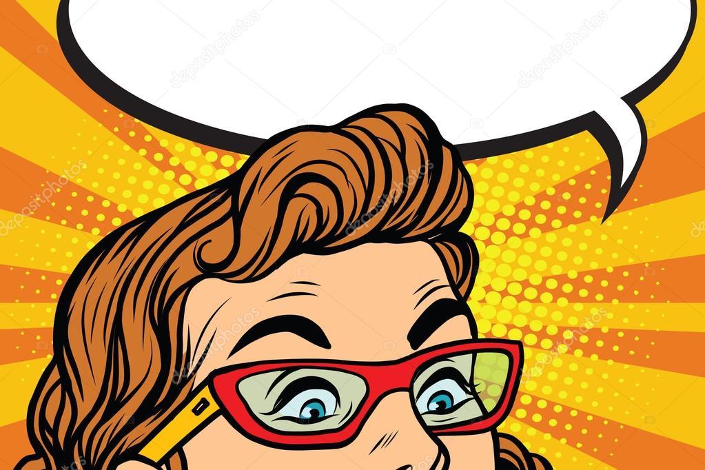 Sorprendidos Ojos Con Anteojos De Chica Vector De Stock