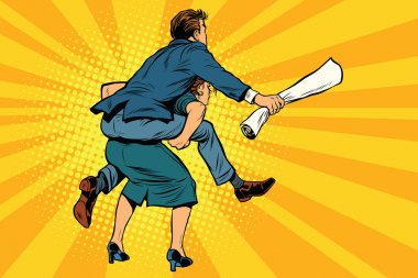 Business people back man riding on woman. Gender inequality
