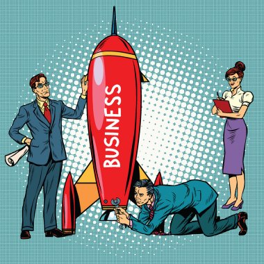 business startup, businessmen and businesswomen launch a rocket