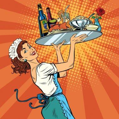 Beautiful young woman waitress in a restaurant