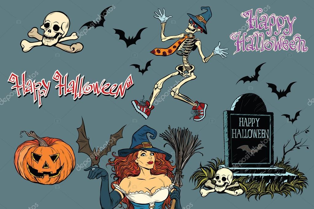 Feliz Halloween de una colección de caracteres. Esqueleto de las ...