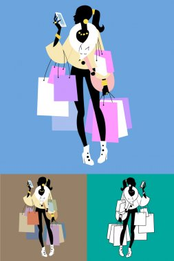 Fashionista Shopaholic calls. The image of the girl with the purchase after the sale stock vector