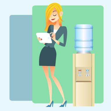 girl office water cooler computer tablet