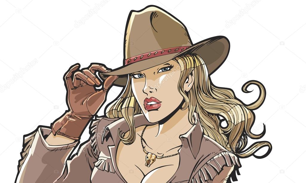 Beautiful girl cowboy hat and clothing