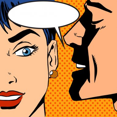 Pop art vintage comic. The man whispers to the girl. Cloud for the text. Gossip and rumors talk about love. Retro style stock vector