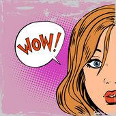 Wow překvapení dívky pop art komiksy ve stylu retro polotónů starý papír