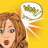 Wow překvapení dívky pop art komiksy ve stylu retro polotónů
