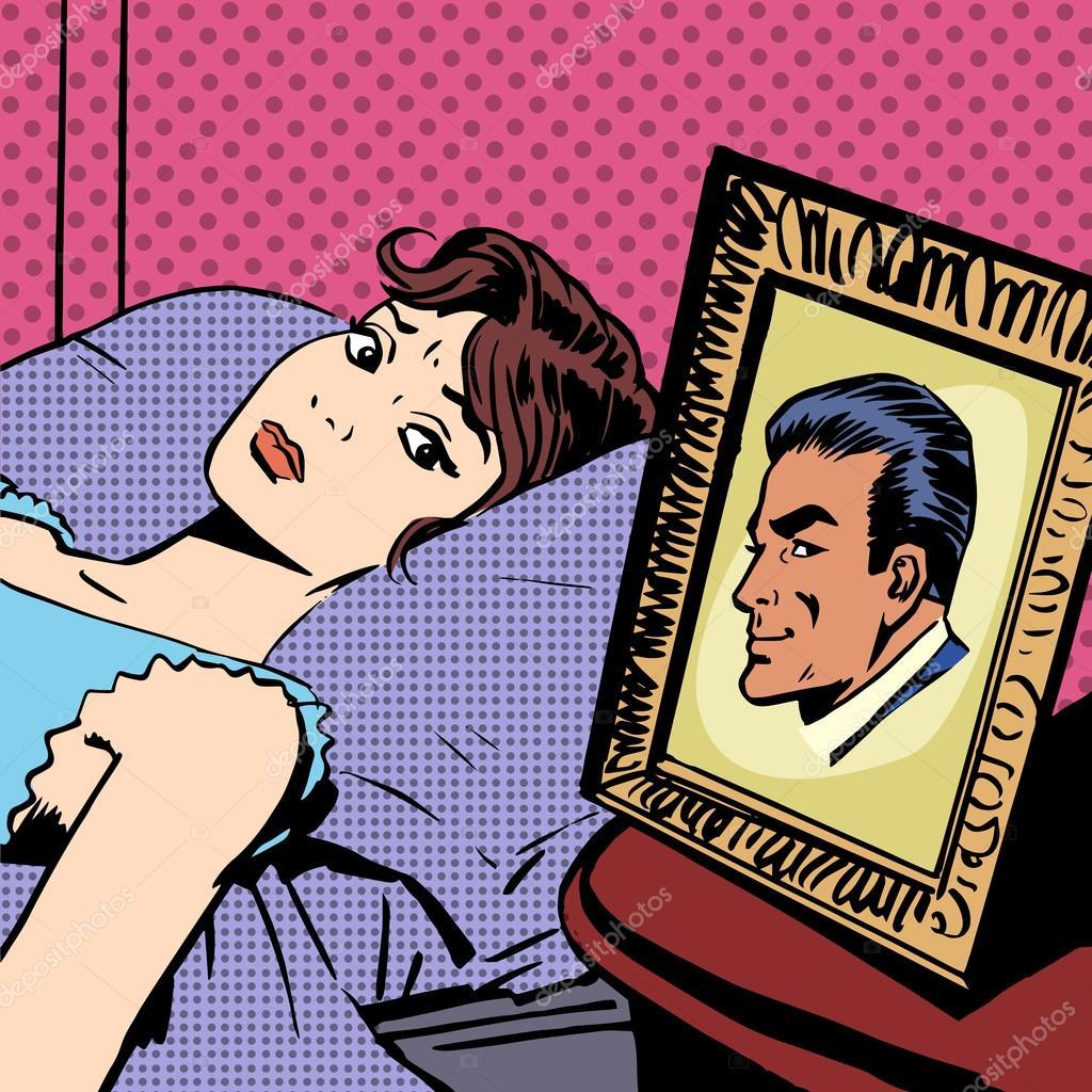 Frau Im Bett Foto Manner Ehefrau Ehemann Pop Art Comic Retro Style H