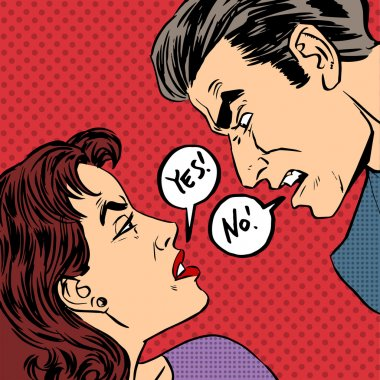Angry quarrel male female Yes no pop art comics retro style Half