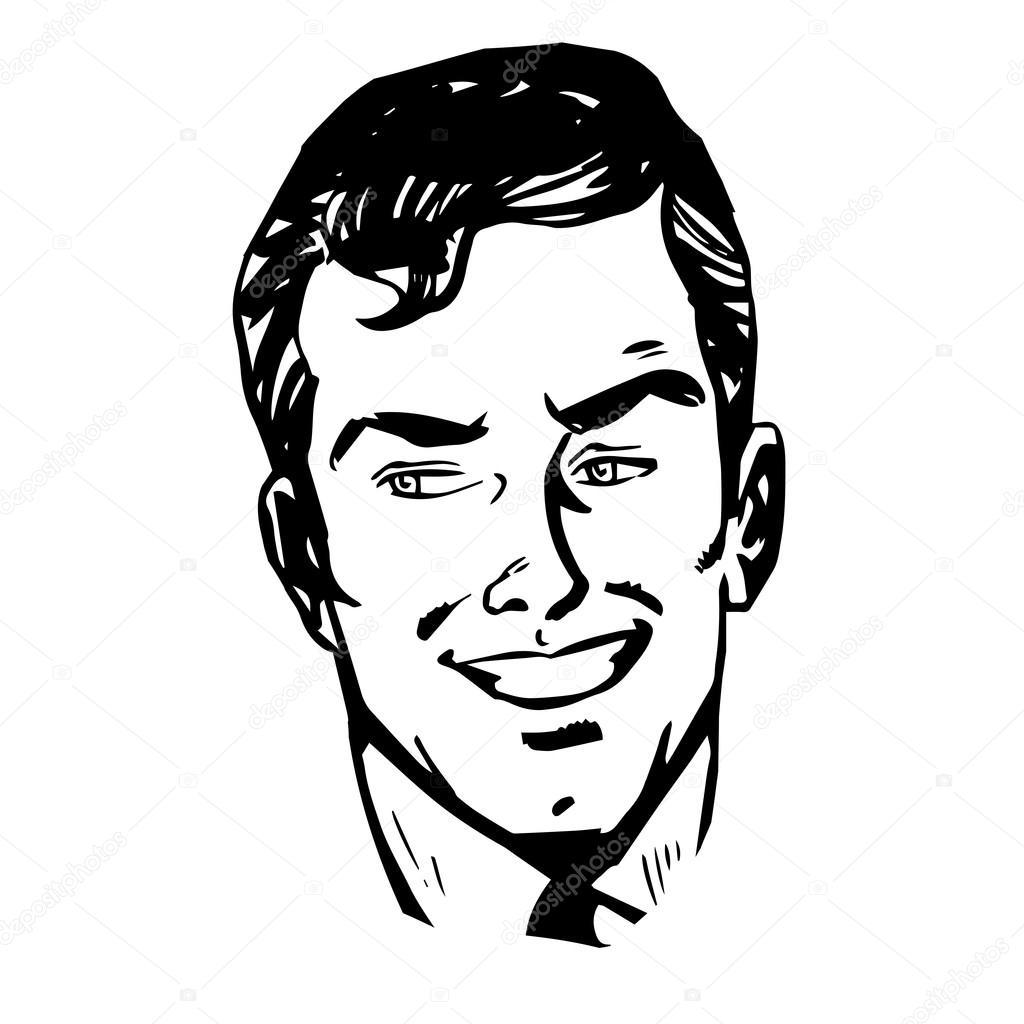dessin au trait r tro souriant homme visage image. Black Bedroom Furniture Sets. Home Design Ideas