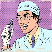 Fotografie Lustige Zahnarzt zog einen Zahn Pop-Art retro comic
