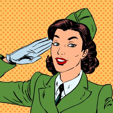 Woman pilot stewardess shape salutes art comics retro style Hal
