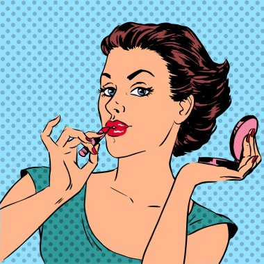 Girl paints lips with lipstick cosmetics beauty perfumes pop art retro comic vintage stock vector