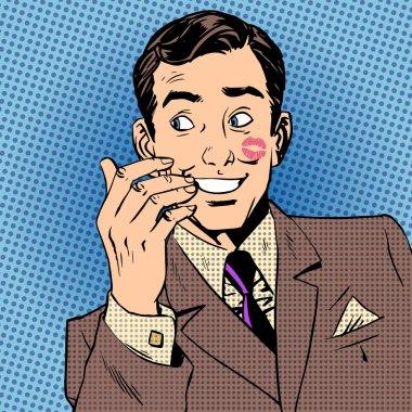 Playboy man kiss face red lipstick style art pop retro