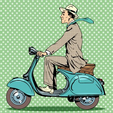 man rides on a vintage scooter