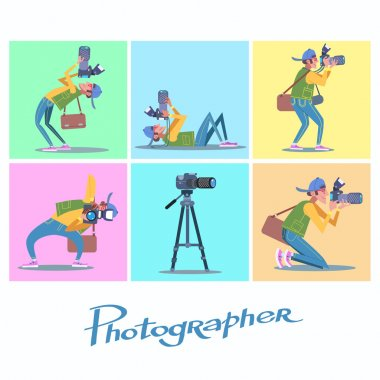 Set photographer camera reporter blogger journalist paparazzi. People traveler stock vector