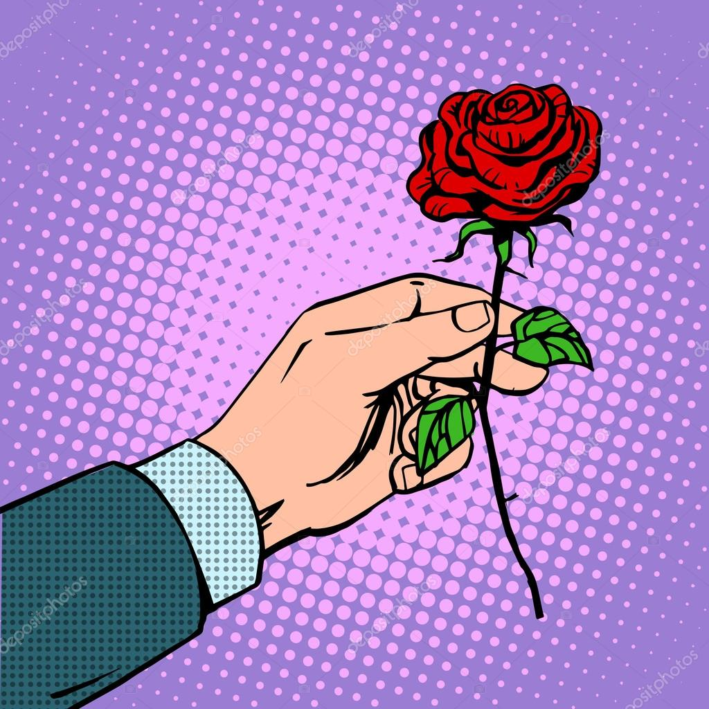 man gives flower rose