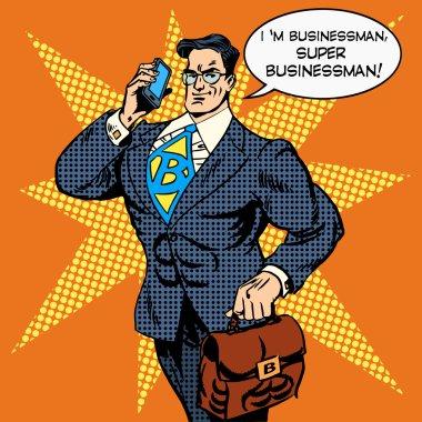super businessman answering phone call