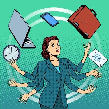 Businesswoman many hands business idea time management