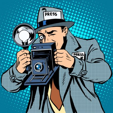 Photographer paparazzi at work press media camera. Pop art retro style stock vector