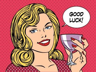 Beautiful woman toast glass wine good luck retro style pop art. Party romantic evening dinner date clip art vector