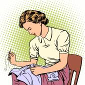 Fényképek woman sews shirt thread housewife housework comfort