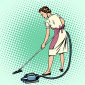 Fényképek Woman vacuuming the room housewife housework comfort