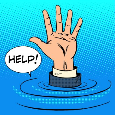 Hand sinking asks for help. Business concept