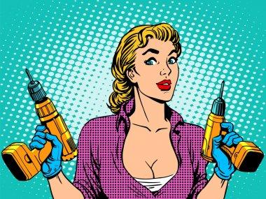 Girl worker drill repair