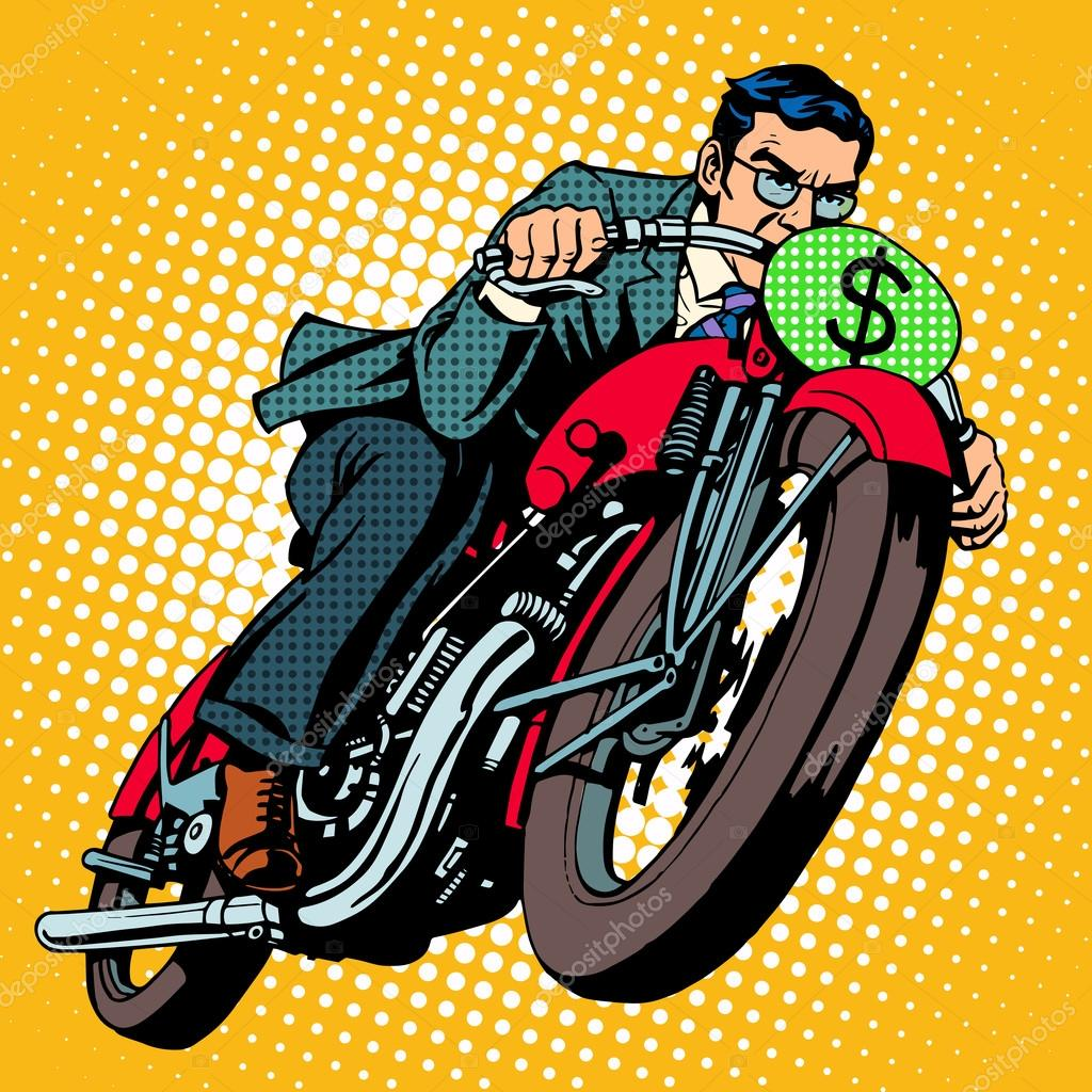 Businessman on a motorcycle. Financial success