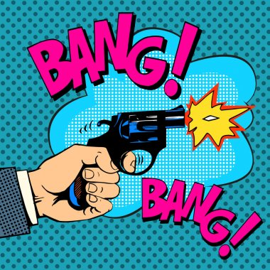 The gunshots gangster murder pop art retro style. Detective movie shootout stock vector