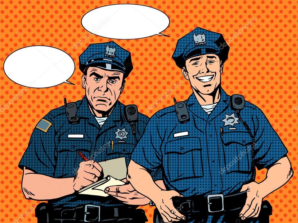 悪い良い警官 — ストックベクタ...