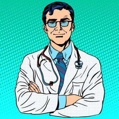 Doctor therapist medicine and health. Profession white coat stethoscope pop art retro style clip art vector