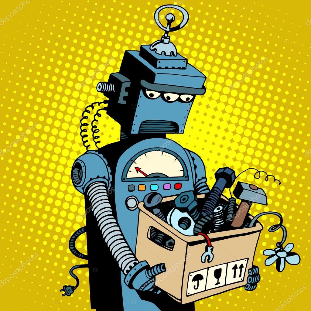 Robot retro triste hojas de trabajo — Archivo Imágenes Vectoriales ...